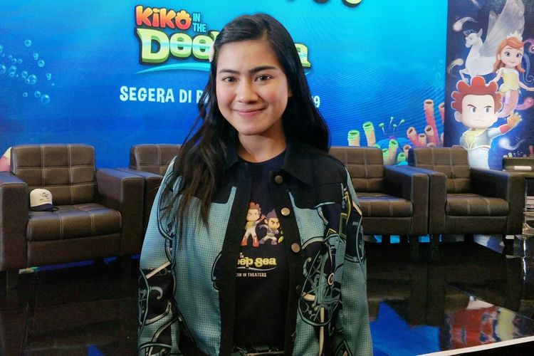Artis peran Felicya Angelista saat ditemui di jumpa pers peluncuran trailer dan poster film animasi Kiko In The Deep Sea di MNC Studios, Kebon Jeruk, Jakarta Barat, Selasa (28/5/2019).