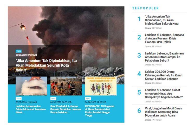 Perkembangan seputar ledakan di Beirut, Lebanon, masih menjadi berita yang banyak dibaca di laman Tren, 7 Agustus 2020.