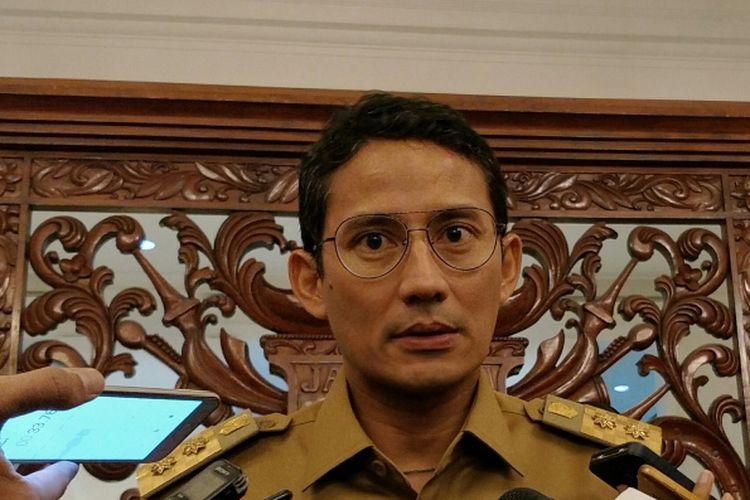 Wakil Gubernur DKI Jakarta Sandiaga Uno di Balai Kota DKI Jakarta, Jalan Medan Merdeka Selatan, Senin (20/11/2017).