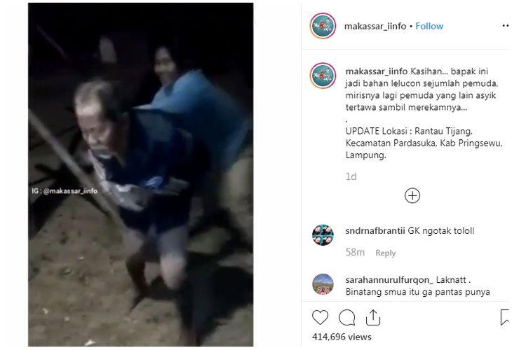 Viral video sejumlah pemuda melakukan bullying ke seorang kakek tunawisma di Pringsewu, Lampung.