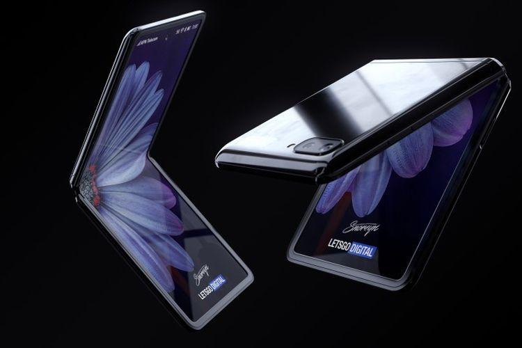Gambar rekaan ponsel lipat Samsung Galaxy Z Flip yang dibuat oleh situs LetsGoDigital.