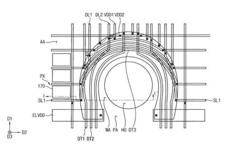 Bocoran gambar yang disinyalir memperlihatkan ilustrasi pemindai sidik jari baru dalam dokumen paten Samsung.