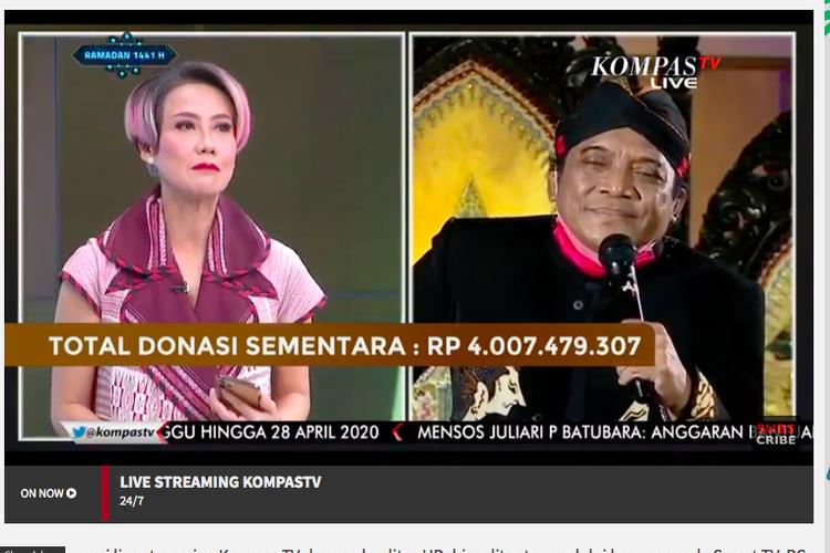 Konser Amal dari Rumah Didi Kempot yang ditayangkan langsung di KompasTV. Terkumpul donasi Rp 4 miliar untuk atasi dampak virus corona
