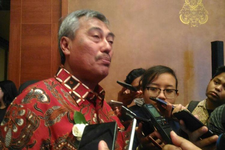 Direktur Utama PT Waskita Toll Road Herwidiakto di Hotel Dharmawangsa Jakarta, Selasa (10/4/2018).
