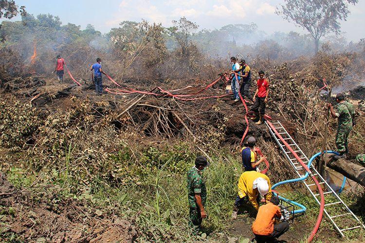 Petugas gabungan dari BPBD dan TNI berupaya memadamkan titik api kebakaran hutan dan lahan gambut di kawasan Desa Peunaga Cut Ujong, Kecamatan Meureubo, Aceh Barat dengan cara menggunakan satu unit mesin pompa air dan armada kebakaran, Selasa (24/10/17).