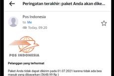 Viral, Unggahan E-mail Phishing Catut PT Pos Indonesia, Waspada!
