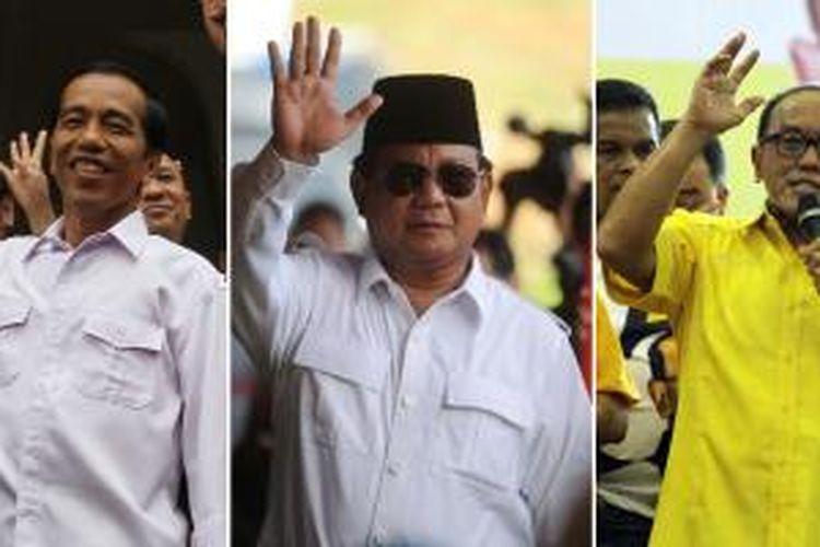 Joko Widodo, Prabowo Subianto, Aburizal Bakrie (kiri-kanan)