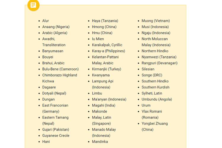 Daftar bahasa baru di Gboard