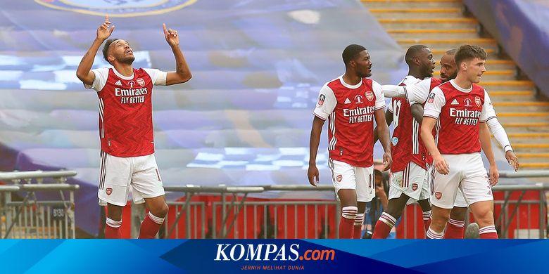 Hasil Arsenal Vs Chelsea, Dua Gol Aubameyang Bawa