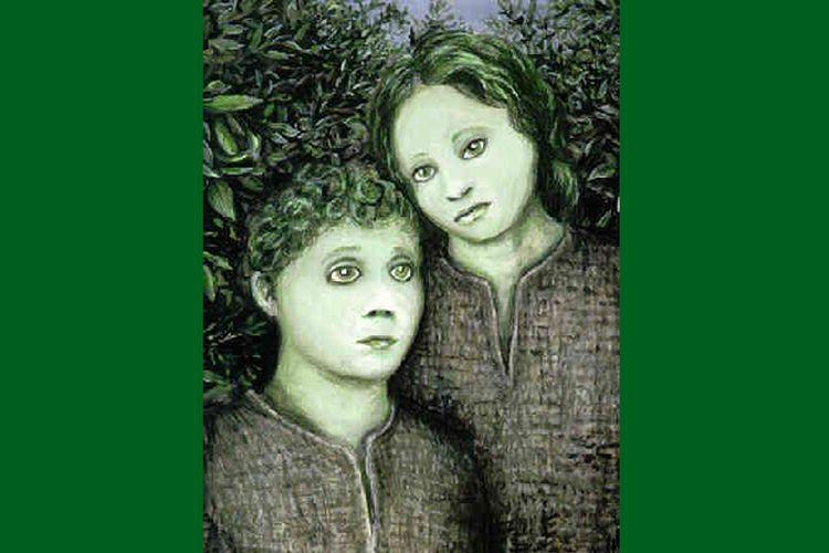 Ilustrasi 2 anak berkulit hijau yang ditemukan di Woolpit, Inggris di abad ke-12.