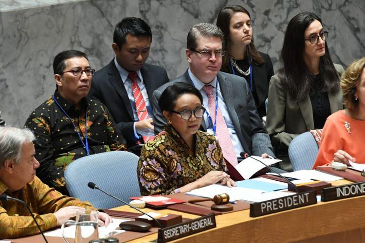 Menlu RI Retno Marsudi memimpin debat terbuka Dewan Keamanan PBB DK PBB dengan tema ?Menabur Benih Perdamaian: Meningkatkan Keselamatan dan Kinerja Misi Pemeliharaan Perdamaian (MPP) PBB? di Markas PBB di New York, Rabu (7/5/19)