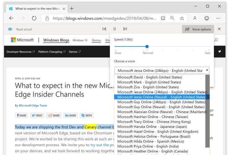 Ilustrasi fitur Read Aloud di Microsoft Edge dengan berbagai jenis suara natural