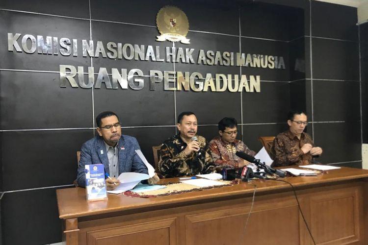 Konferensi pers Komisi Nasional Hak Asasi Manusia (Komnas HAM) soal pembantaian pekerja pembangunan infrastruktur di Kabupatem Nduga, Papua, di Gedung Komnas HAM, Jakarta Pusat, Rabu (5/11/2018).