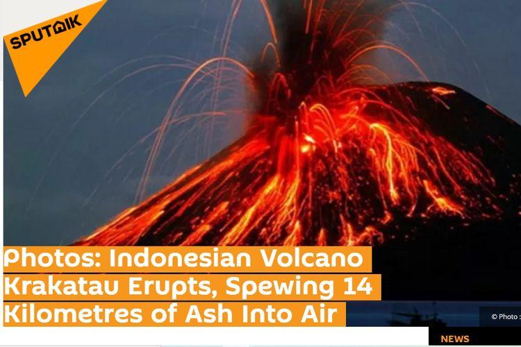 Tangkapan layar pemberitaan erupsi Gunung Anak Krakatau dari Sputnik News, Sabtu (11/4/2020).