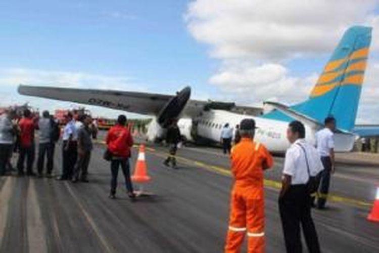 Dua penumpang terluka ketika pesawat MA60 milik Merpati Nusantara terpaksa mendarat darurat di Bandar El Tari, Kupang di Indonesia 10 Juni 2013.