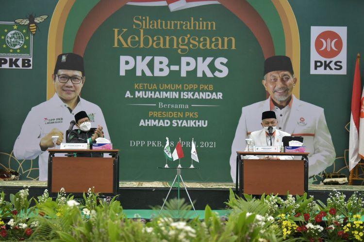 Pertemuan Ketua Umum PKB Muhaimin Iskandar dengan Presiden PKS Ahmad Syaikhu di Kantor DPP PKB, Jakarta, Rabu (28/4/2021)