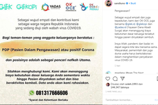 OK OCE Siap Tanggung Kebutuhan Dasar Keluarga Pasien PDP Corona, Syaratnya hanya KK dan Surat RS