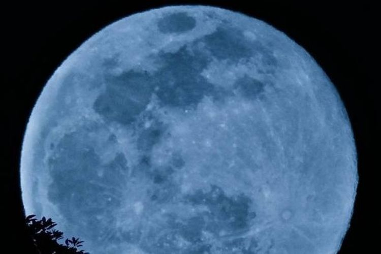 Bulan biru diabadikan dari pasuruan pada Jumat (31/7/2015)