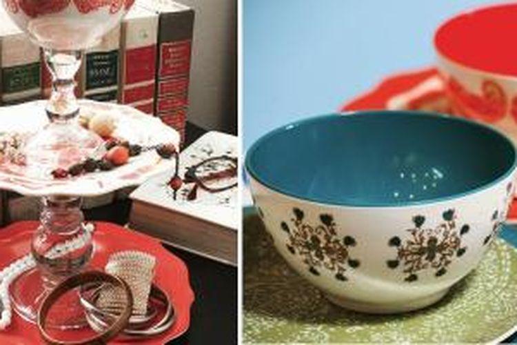 Buat sendiri tempat perhiasa Anda dengan memanfaatkan piring, mangkuk, dan tempat lilin.