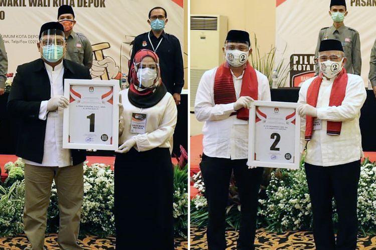 Dua pasang kandidat di Pilkada Depok 2020, Mohammad Idris-Imam Budi Hartono (kanan) dan Pradi Supriatna-Afifah Alia usai pengundian dan penetapan nomor urut di Aula Raffles Hills, Depok, Kamis (24/9/2020) pagi.