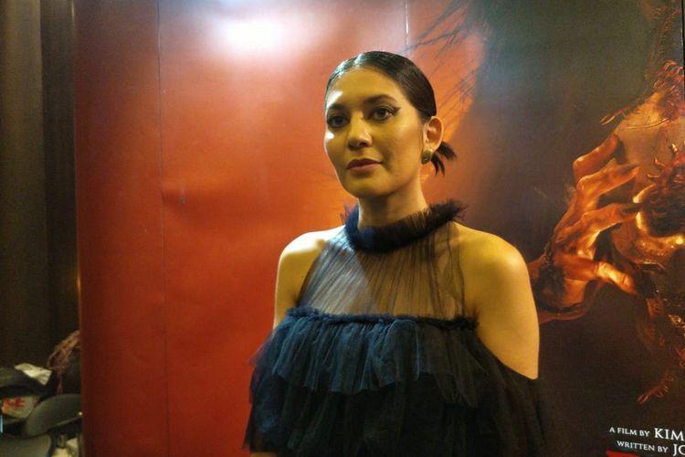 Aktris peran Hannah Al Rashid saat sesi foto seusai jumpa pers dan screening film di XXI Epicentrum, Kuningan, Jakarta Selatan, Senin (4/11/2019).