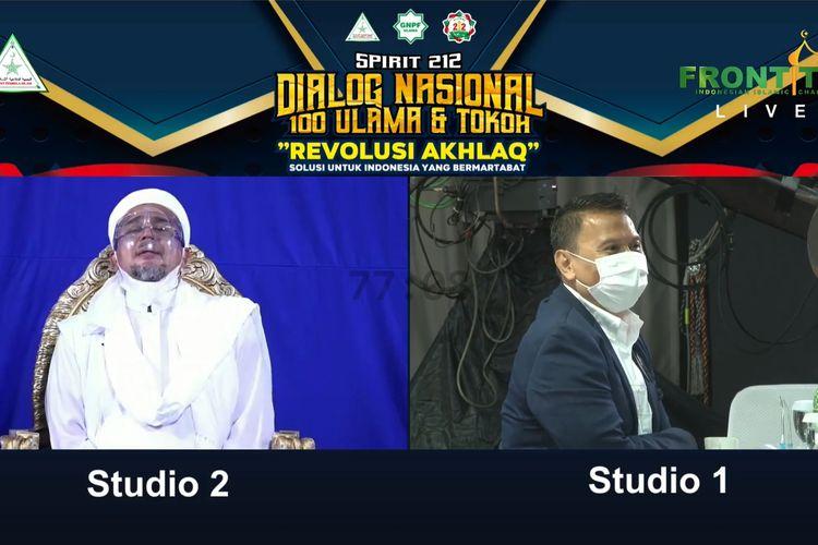 Pimpinan Front Pembela Islam Rizieq Shihab menghadiri Reuni 212 yang digelar secara daring, Rabu (2/11/2020).