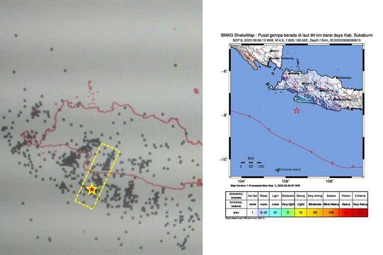 Selasa (8/9/2020) pukul 9.06 WIB, wilayah Sukabumi dan sekitarnya juga diguncang gempa tektonik. Hasil analisis BMKG menunjukkan bahwa gempa ini berkekuatan M 4,9.