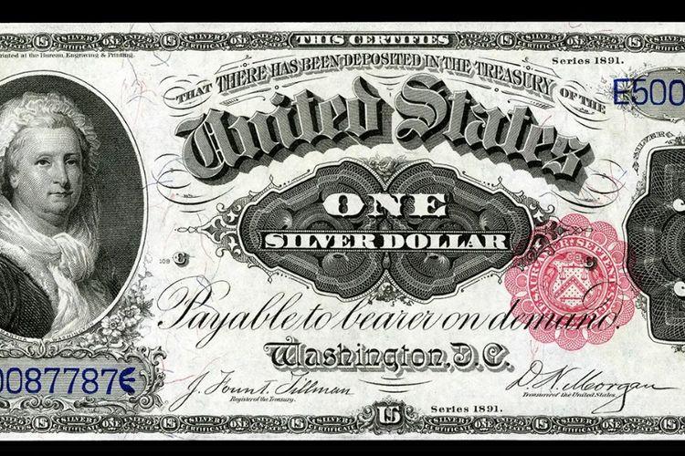 Uang kertas 1 dollar AS kuno dengan gambar ibu negara pertama, Martha Washington. [Via Mount Vernon]