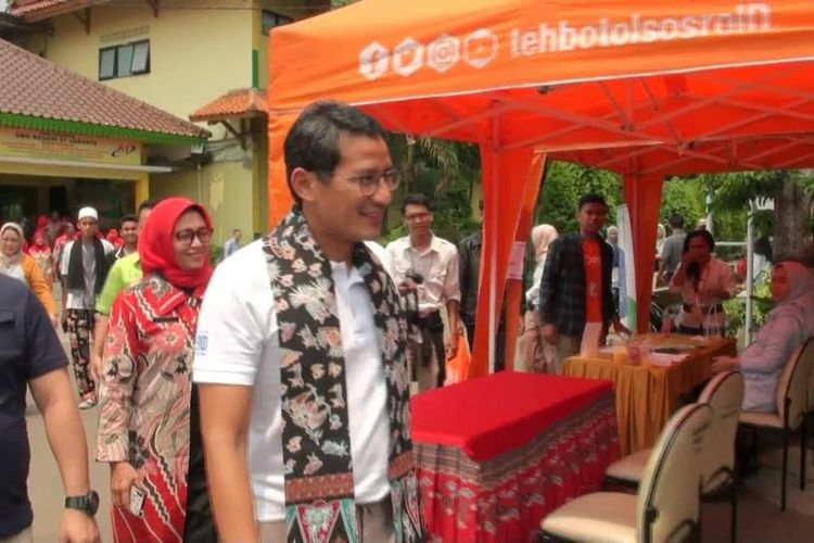 Mantan Gubernur DKI Jakarta Sandiaga Uno di SMKN 51 Jakarta, Cipayung, Jakarta Timur, Rabu (4/12/2019).