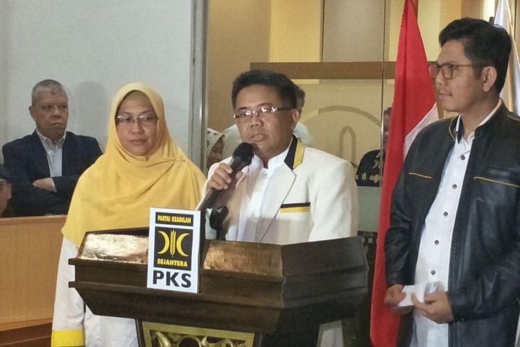 Presiden PKS Sohibul Iman saat memberikan keterangan terkait hasil musyawarah istimewa Majelis Syuro PKS, di kantor DPP PKS, Jakarta Selatan, Selasa (7/8/2018).