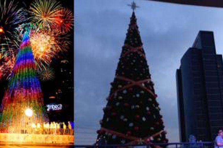 Sejumlah mal menghadirkan pohon natal raksasa untuk menarik pengunjung.