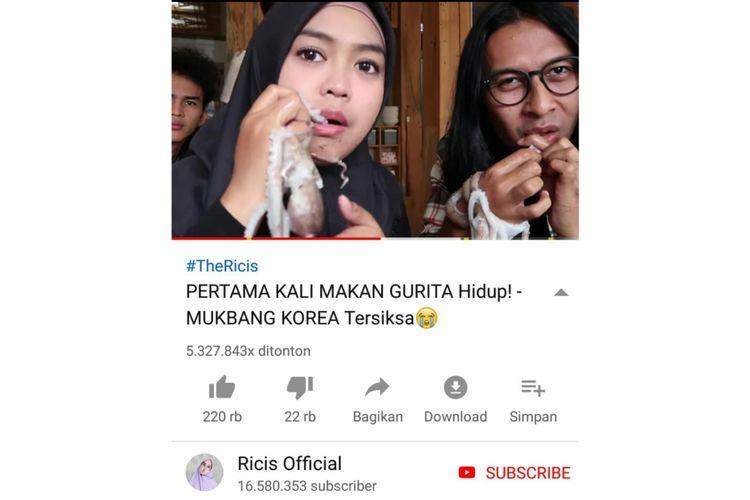 Tangkapan layar kanal YouTube Ricis Official.