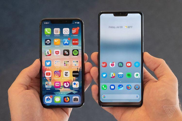 Ilustrasi ponsel iPhone dan Android