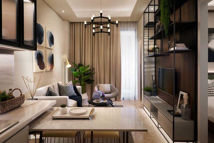 Desain interior apartemen nuansa warna cokelat karya HelloEmbryo