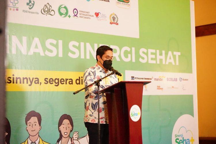 Ketua Umum Iluni UI Andre Rahadian dalam pembukaan program Vaksinasi Sinergi Sehat yang akan berlangsung hingga 15 September 2021 dan bertempat di The Media Hotel and Towers, Gunung Sahari, Jakarta (26/7/2021).