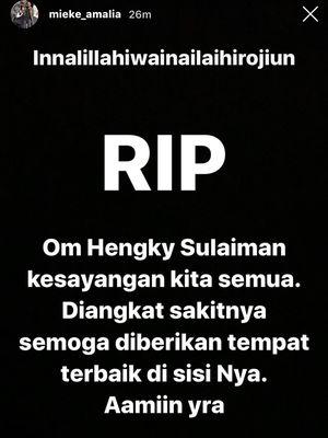 Ucapan duka cita Mieke Amalia untuk Hengky Solaiman. (Bidikan layar Instagram Mieke Amalia).