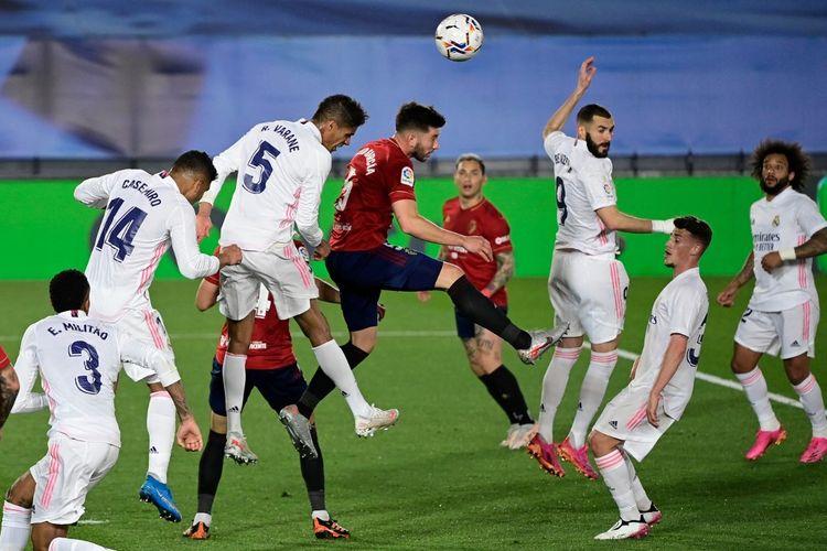 Pertandingan Real Madrid vs Osasuna dalam lanjutan Liga Spanyol 2020-2021 di Stadion Alfredo Di Stefano, Sabtu (1/5/2021) atau Minggu (2/5/2021) dini hari WIB.