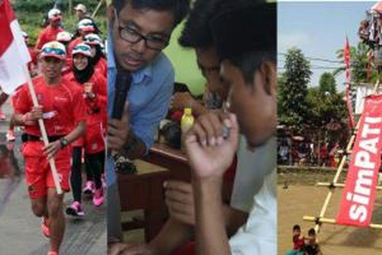 Dari kiri ke kanan: Kegiatan Independence Day Run 2014 (tribunnews), kegiatan XL Future Leaders di Pulau Mandangin, Madura (xl axiata) dan kegiatan 17 Agustus di Festival Kalimalang (telkomsel).