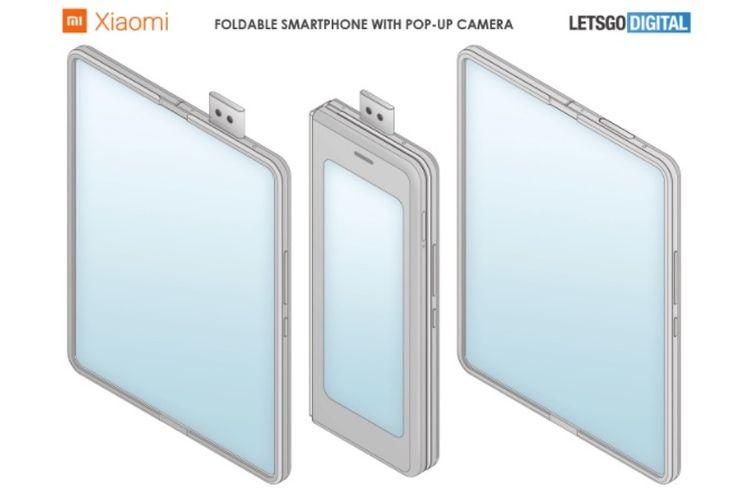 Paten ponsel layar lipat Xiaomi dengan modul kamera pop up