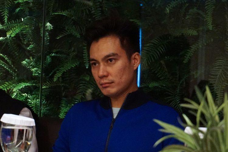 Artis peran Baim Wong saat diabadikan dalam jumpa pers Film Film Unggulan MVP Pictures Di MVP Tower, Kuningan, Jakarta Selatan, Jumat (23/2/2018).