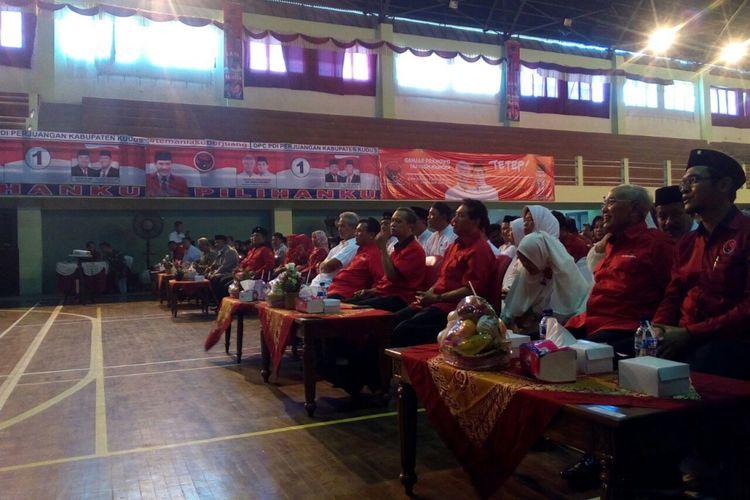 Suasana di Rapat Kerja Cabang Khusus DPC PDIP Kudus, di GOR Kudus, Rabu (21/2/2018).