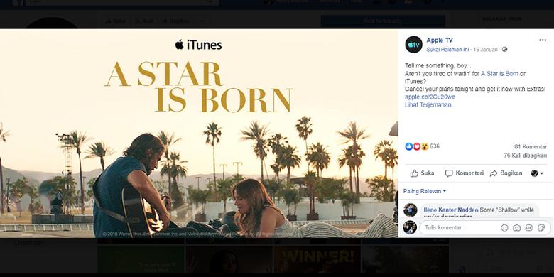 Salah satu konten di laman Facebook iTunes yang bermigrasi ke laman Facebook Apple TV