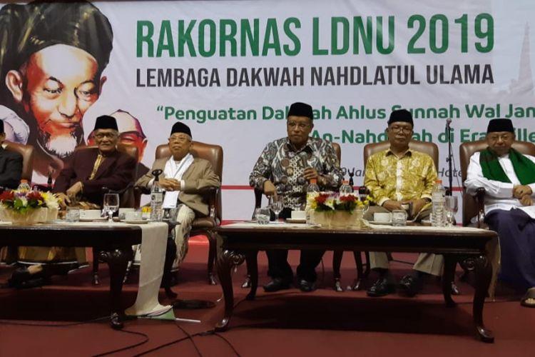 Calon wakil presiden nomor urut 01, Maruf Amin (ketiga dari kiri), sebagai pembicara di rapat koordinasi nasional Lembaga Dakwah Nahdlatul Ulama (LDNU) di Hotel Bidakara, Jakarta, Senin (28/1/2019).