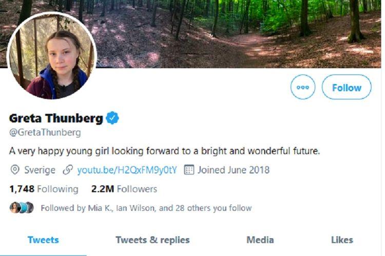 Aktivis lingkungan berusia 16 tahun asal Swedia, Greta Thunberg, langsung mengganti bio di Twitter setelah diejek Presiden Amerika Serikat (AS) Donald Trump.