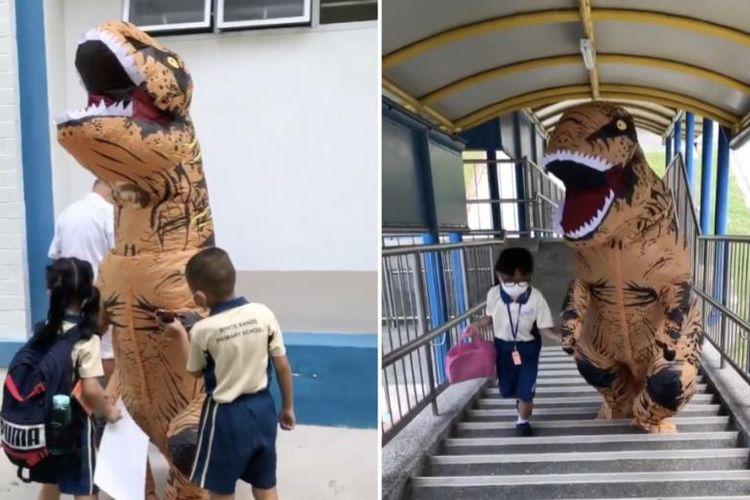 Tangkapan layar dari video seekor T-Rex yang menjemput adiknya pulang sekolah dan jumpa fans dadakan dengan anak-anak TK di Singapura.