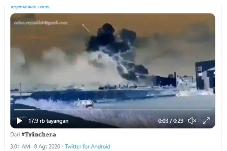Tangkapan layar twit soal hoaks ledakan lebanon