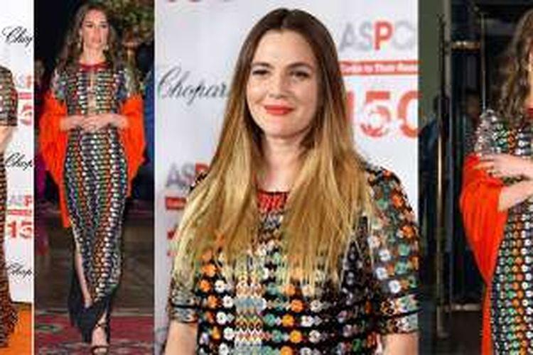Kate Middlton dan Drew Barrymore mengenakan gaun yang sama di hari yang sama tapi lokasi yang berbeda.
