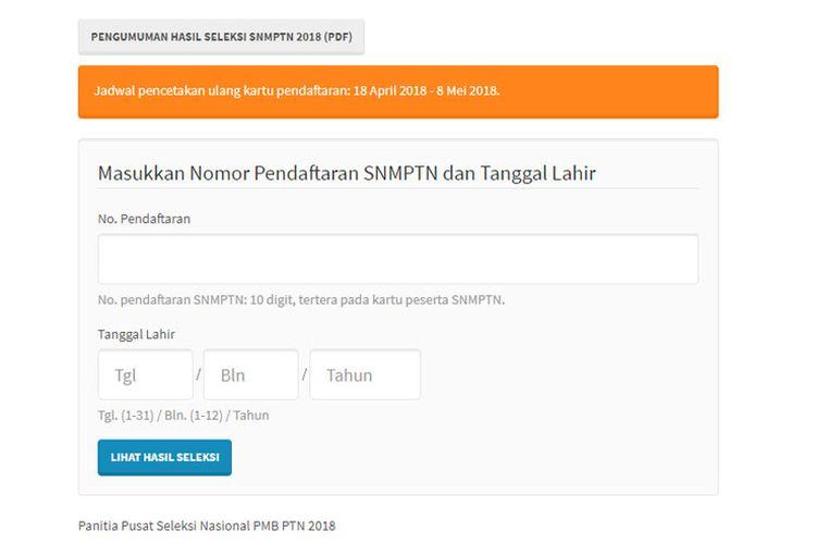 Hasil SNMPTN 2018 dapat diakses melalui laman resmi http://pengumuman.snmptn.ac.id/