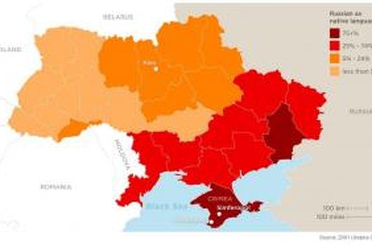Peta Ukraina berdasarkan penggunaan bahasa dalam percakapan sehari-hari