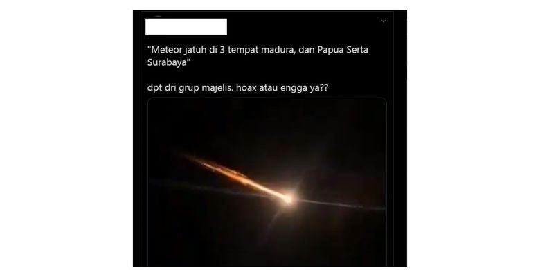 Tangkapan layar video yang menyebut adanya meteor jatuh di beberapa wilayah Indonesia